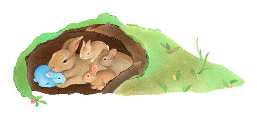Bunnies in the den, from Thunder Bunny